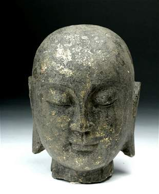 Chinese Song Dynasty Gilded Stone Head of a Lohan