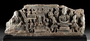 Long Gandharan Schist Frieze 2 Buddhas  Attendants