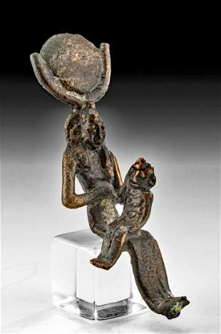 Egyptian Leaded Bronze Seated Isis with Horus