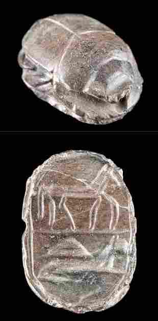 Egyptian Stone Scarab w/ Incised Animal Motifs