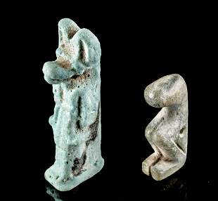 Lot of 2 Egyptian Stone & Faience Amulets
