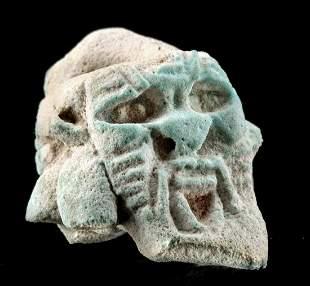 Egyptian Glazed Faience Janiform Bes Head Fragment