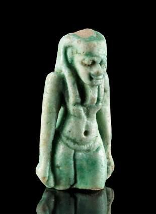 Egyptian Glazed Faience Striding Goddess