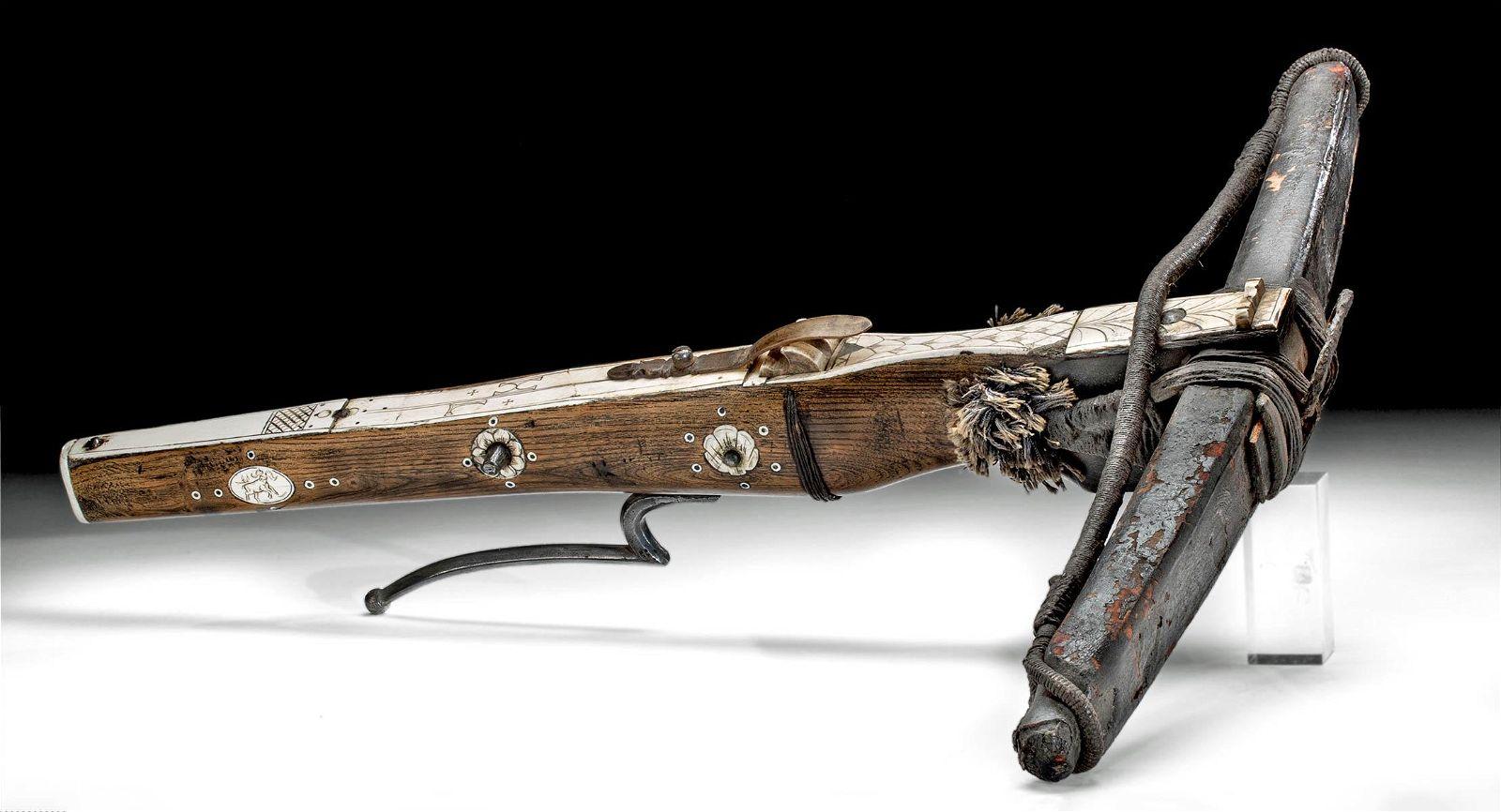 18th C. German Wood Crossbow w/ Bone Inlay