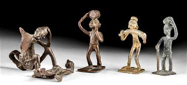 Lot of 4 Mid-20th C. Ashanti Brass Figural Gold Weights