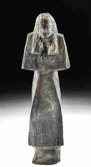Egyptian New Kingdom Wooden Ushabti w/ Bitumen
