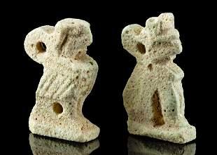 Two Egyptian Glazed Faience Pendants - Cat & Falcon