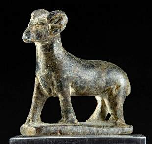 Egyptian Late Period Steatite Striding Ram Amulet