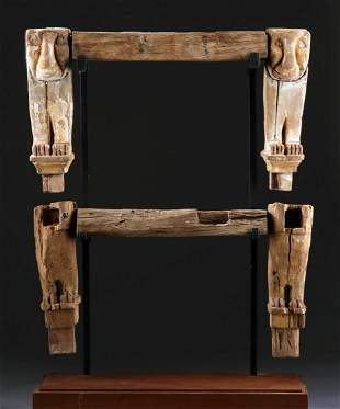 Egypt Late Dynastic Wood Throne Legs w/ Lions