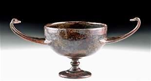 Graceful Hellenistic Greek Bronze Stemmed Kantharos