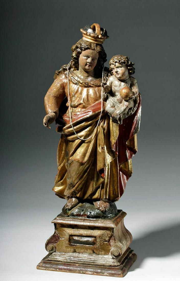 17th C. Spanish Colonial Wood Santo - Virgin and Child