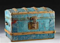 19th C. New Mexican Painted Wood Trunk w/ Tin Trim