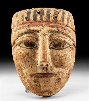 Egyptian Ptolemaic Painted Gesso Mummy Mask