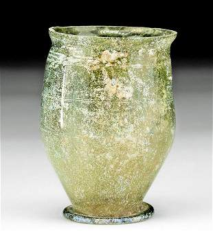 Roman Glass Footed Goblet - Wheel-Cut Decorations