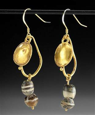 Pair of Roman Gold, Glass & Agate Earrings