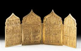 19th C Russian Gilt Brass 4Paneled Traveling Icon