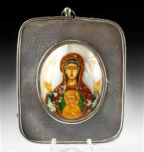 19th C. Russian Painted Nacre Icon Silver Frame