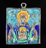 19th C Russian Enamel Silver Travel Icon Pendant
