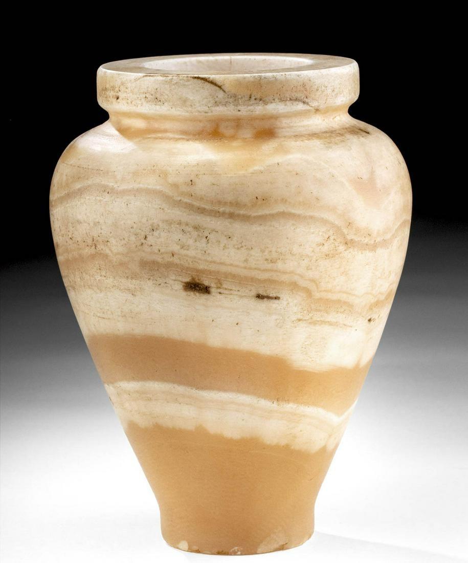 Large Egyptian Banded Alabaster Jar