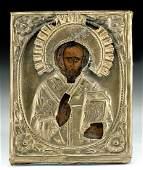 19th C Russian Icon w Gilt Brass Oklad St Nicholas