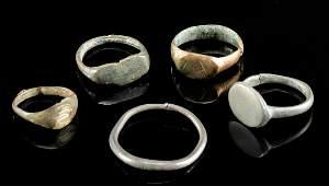 Lot of 5 Roman Silver Brass  Bronze Signet Rings