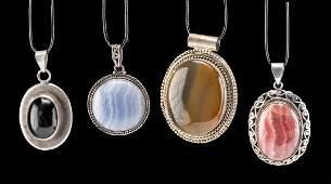 Lot of 4 Vintage North American Silver & Stone Pendants