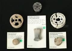 Lot of 5 Aztec Ceramic Ear Spools  Blowgun Pellet