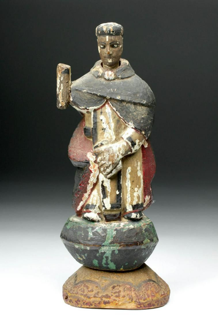 19th C. Mexico Painted Wood Santo - Monk