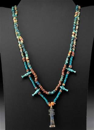 Egyptian Faience Bead Necklace w/ Lapis Djed Pillar