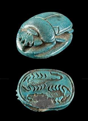 Egyptian Glazed Scarab w/ Scorpions,ex-Mitry