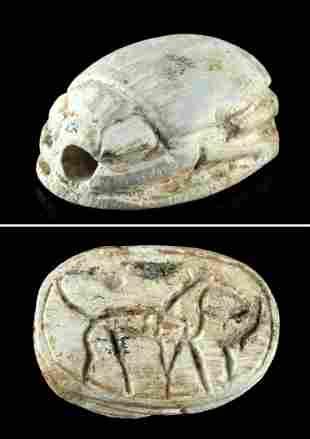 Egyptian Faience Steatite Scarab Amulet w/ Feline