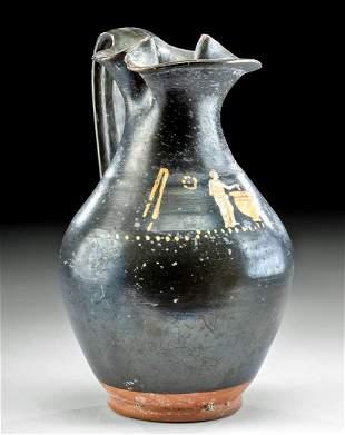 Apulian Gnathian Pottery Oinochoe - Man w/ Cup & Krater