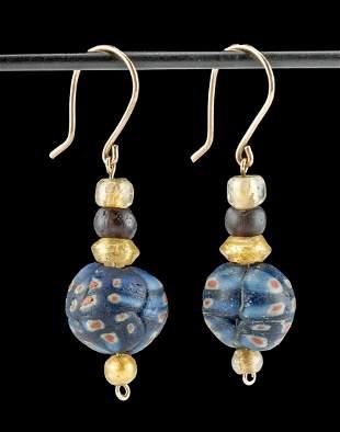 Wearable Roman Glass Bead Earrings
