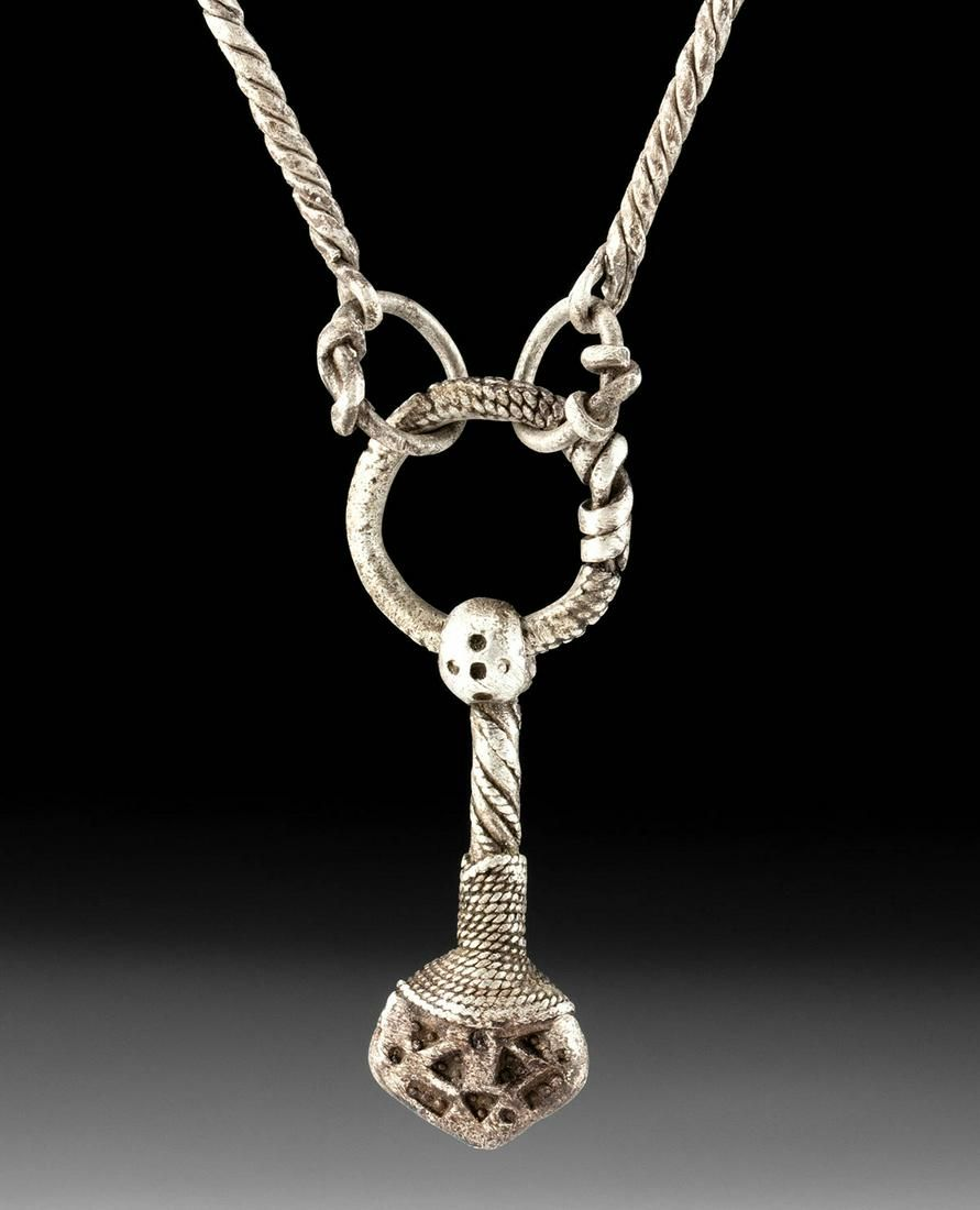 Viking Silver Necklace with Thor's Hammer