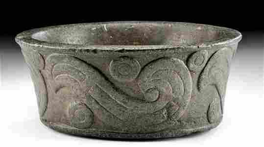 Very Fine Decorated Mapuche Stone Bowl