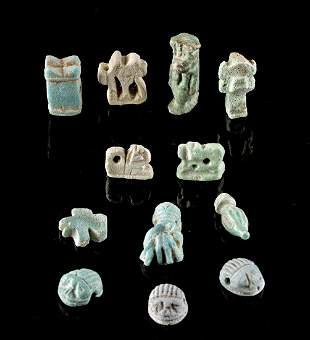 Lot of 12 Miniature Egyptian Faience Amulets