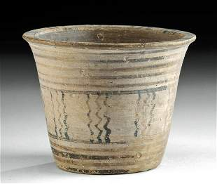Greek Geometric Pottery Kalathos Linear Motifs