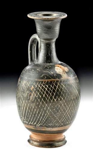 Greek Pottery Squat Lekythos - Net Motif & Female Bust