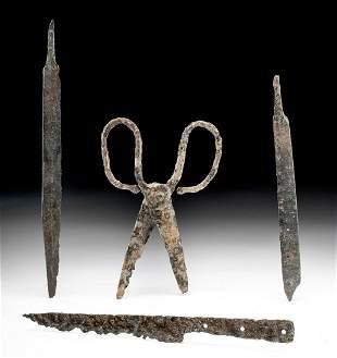 3 Viking Iron Knives + Pair of Scissors Rare Group