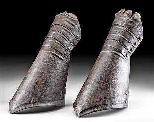 Pair of Antique European Carbon Steel Gauntlets