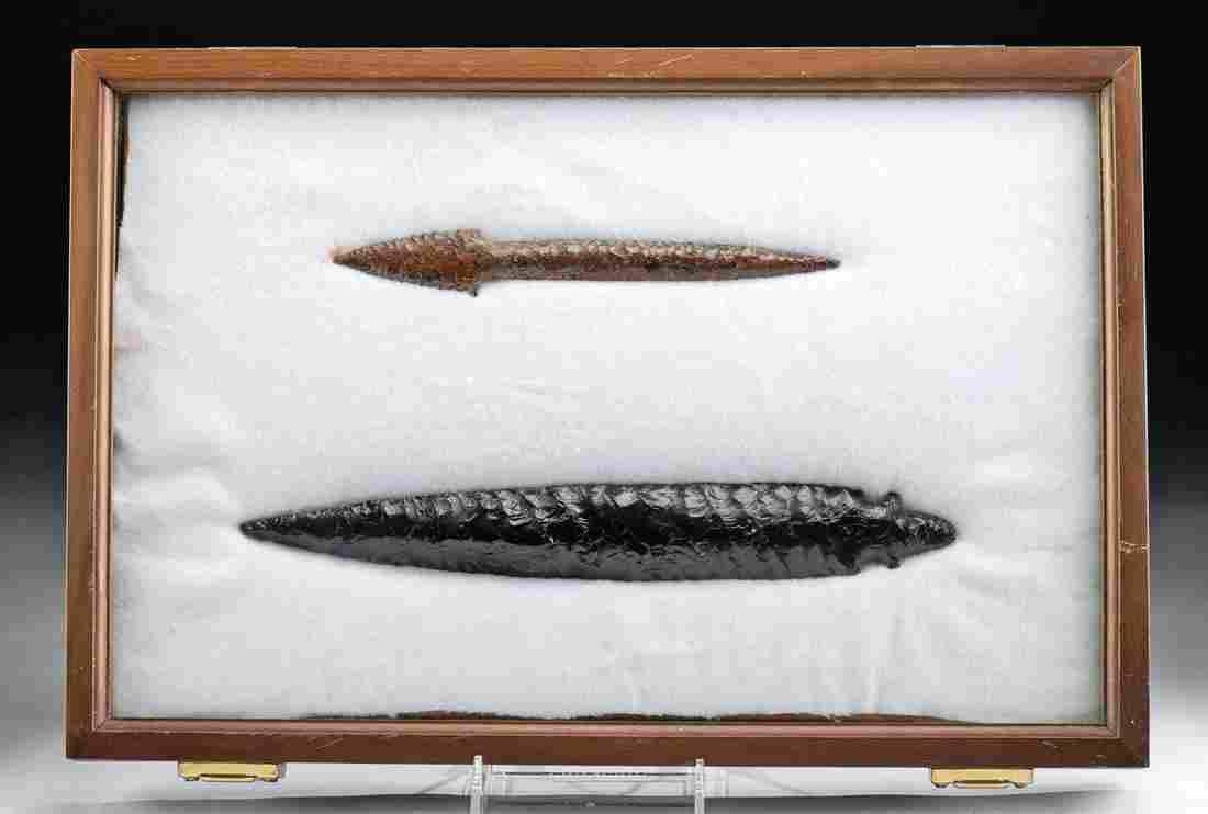 Fine Colima Obsidian Spear Blades - Black, Mahogany