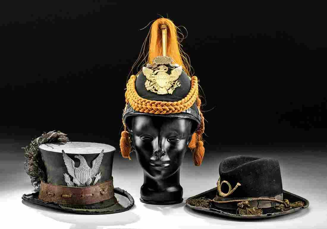 19th C. American Hats + Helmet w/ Brass Insignias