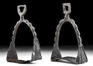 9th C. Medieval European Iron Stirrups Matched Pair