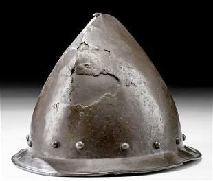 17th C. European Carbon Steel Cabasset Helmet