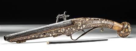 16th C German Steel Wheellock Pistol w Bone Inlays