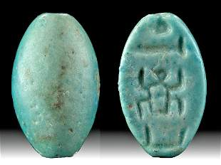 Egyptian Faience Bead Cartouche Thutmose I, ex-Mitry