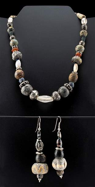 Phoenician, Roman, Islamic  Beaded Necklace & Earrings
