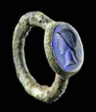 Roman Lead Copper Alloy Ring w/ Blue Glass Intaglio