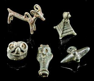 Lot of 5 Luristan Bronze and Stone Miniatures