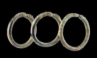 Three Achaemenid Bronze Bracelets w/ Zoomorphic Finials
